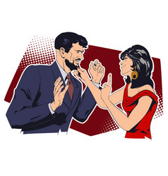 Girl flirts with man vector