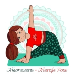 girl in Trikonasana with mandala background vector image