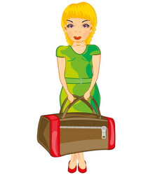 girl with road bag vector image