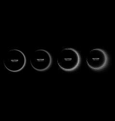Halftone dots circle frames logo emblem half moon vector