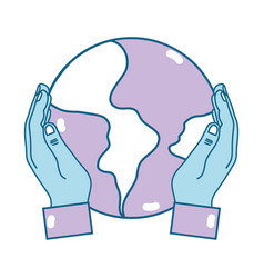Hands with global earth planet and geography vector