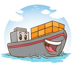 happy cargo ship vector image