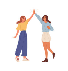 Happy people giving high five friends greeting or vector