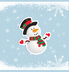 Happy snowman looking up and raising his arms vector