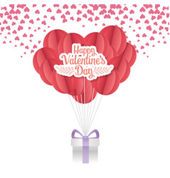 happy valentines day origami paper balloon with vector image
