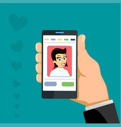 happy woman on smartphone screen online chat app vector image