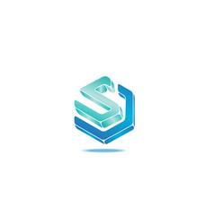 Hexagonal s logo design template vector