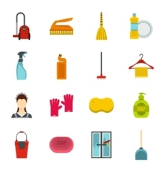 House cleaning icons set flat style vector