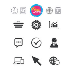 internet seo icons tick shopping signs vector image