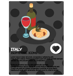 Italy color isometric poster vector