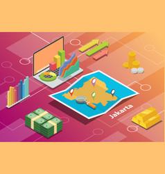 Jakarta indonesia city isometric financial economy vector