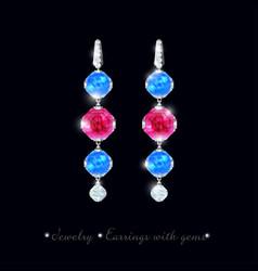 Jewelry earrings precious stones vector