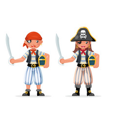 kids boy girl pirate adventure party sailor vector image