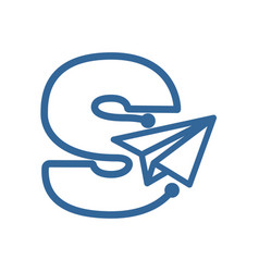Letter s with paper plane logo vector