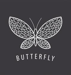 logo elegant white butterfly petal vector image