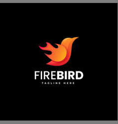 logo fire bird gradient colorful style vector image