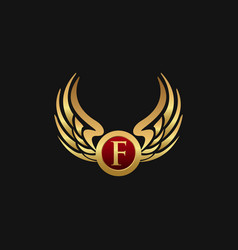 luxury letter f emblem wings logo design concept vector image