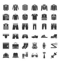 Male clothes and accessories solid icon set 1 vector