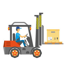 male worker driving service vehicle with carton vector image