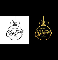 merry christmas design black and gold vector image