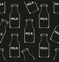 Milk seamless pattern on a black background vector