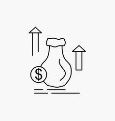 money bag dollar growth stock line icon isolated vector image