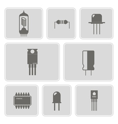 monochrome icon set with electronic components vector image