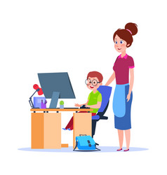 mother and child at computer mom helping boy vector image