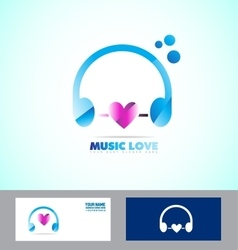 Music headphones logo icon love heart vector