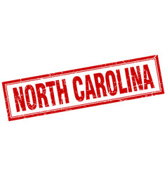 North carolina red square grunge stamp on white vector