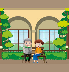 Old people reading newspapers in the garden vector