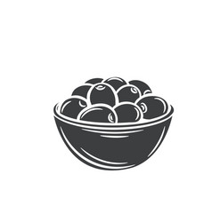 Olives in a bowl glyph icon vector