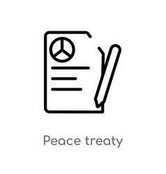 Outline peace treaty icon isolated black simple vector