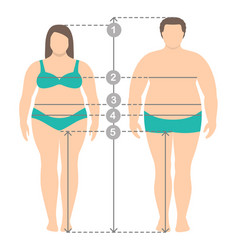 Overweight man and women in full length vector