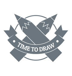 pencil logo simple gray style vector image
