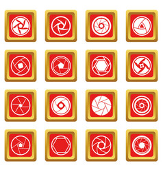 Photo diaphragm icons set red vector