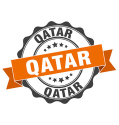 Qatar round ribbon seal vector