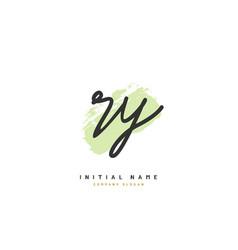 r y rybeauty initial logo handwriting logo vector image