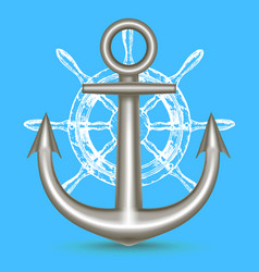 realistic metal anchor and ship steering wheel vector image