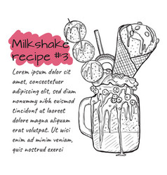 Recipe of milkshake n3 smoothie with cookies ice vector