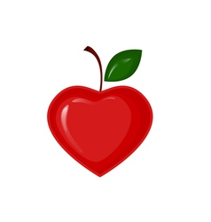 red apple in shape heart vector image