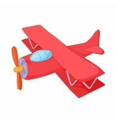 Red biplane icon cartoon style vector image