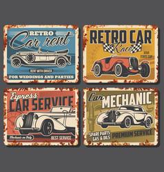 retro car repair rent service rusty metal plate vector image