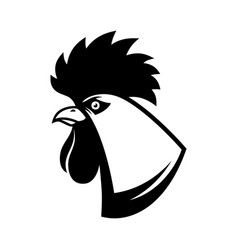 rooster head in engraving style design element vector image