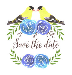 Save date american goldfinches on rose twigs vector