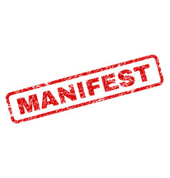 Scratched manifest rounded rectangle stamp vector
