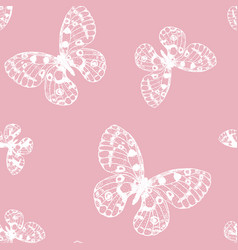Seamless pattern of white hand drawn butterfly vector