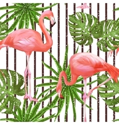 Seamless pattern with flamingo birds and palm vector image