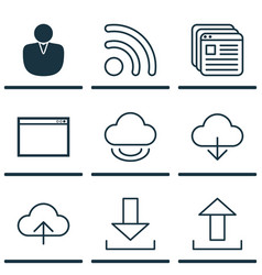 set of 9 web icons includes virtual storage wifi vector image