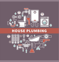 set of house plumbing with drops of water vector image